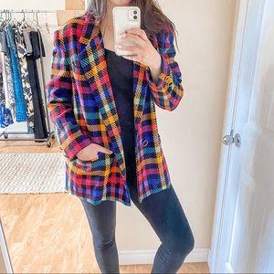 Lilli Ann 80's Multi Colour Plaid Vintage Blazer